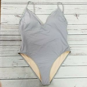 LA Hearts Silver One-Piece Swimsuit Size XL